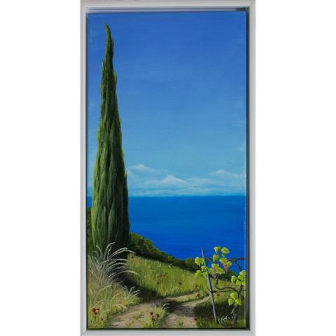 """Gemälde """"Toskana"""" 60x30 cm im Rahmen"""