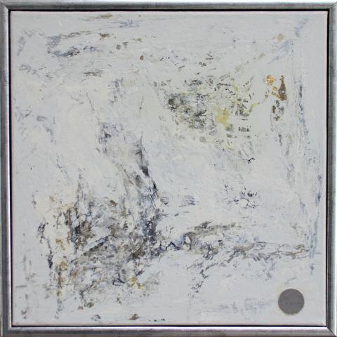 "Gemälde ""abstract creme"" 40x40 cm im Rahmen"