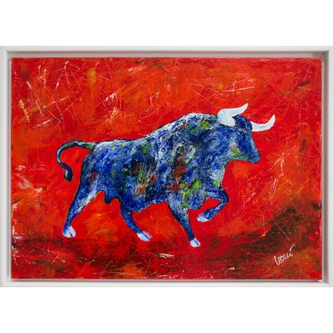 "Gemälde ""Stier"" 50x70 cm im Rahmen"