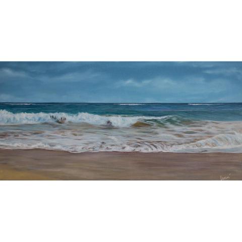 Gemälde Nordsee-Welle 40x80 cm