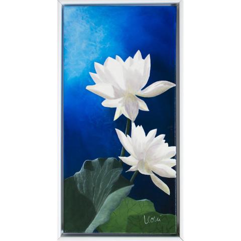 """Gemälde """"Lichtrose I"""" 60x30 cm im Rahmen"""