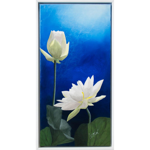 """Gemälde """"Lichtrose II"""" 60x30 cm im Rahmen"""